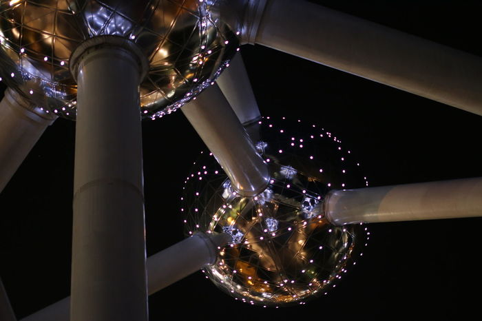Atomium Brussels Close-up Illuminated Lighting Equipment Low Angle View Night No People