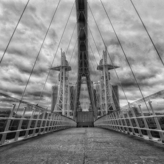 The Millennium Bridge also also known as The Lowry Footbridge across the Manchester ship canal near The Lowry centre Millennium Bridge Lowry Bridge EyeEm Masterclass Fujifilm EyeEm Best Shots - HDR Malephotographerofthemonth Hdr_captures Scenery Shots Hidden Gems  Black And White Black And White Collection  Black And White Portrait Bnw_collection Monochrome Portrait Monochrome Eyeem Black And White Collection Creative Light And Shadow Shades Of Grey Black And White Photography Monocrome Pivotal Ideas Adapted To The City