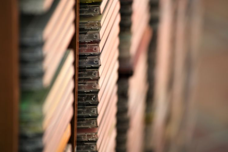 Close-Up Of Stacked Audio Cassettes