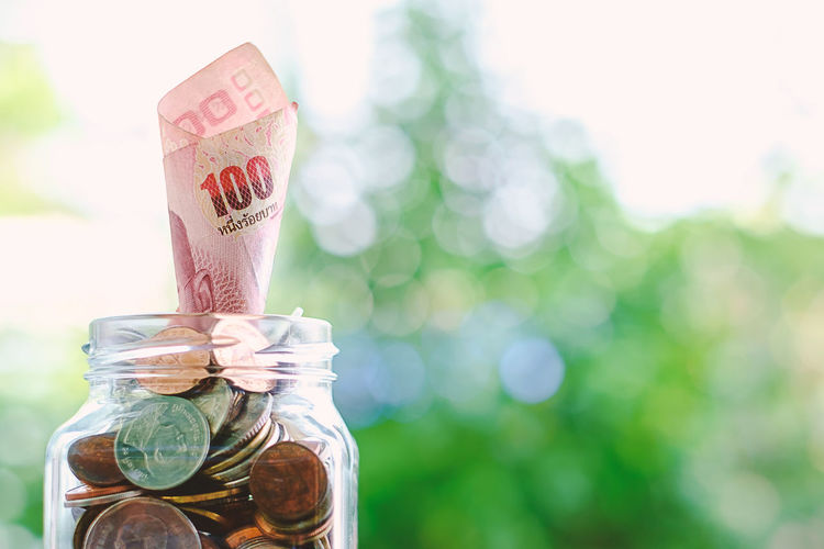 Economy Growth Banknote Bottle Business Coin Container Currency Finance Focus On Foreground Glass - Material Investment Jar Money Nature Paper Currency Savings Wealth