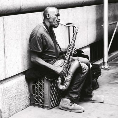 Saxophone Sax Jazz OpenEdit New York Blackandwhite Black And White Black & White Enjoying Life United States