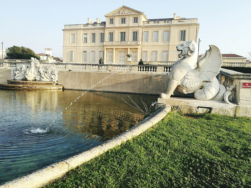Architecture Building Exterior Arts Culture And Entertainment Water Fountain Outdoors Representing Marseille Parc Borely