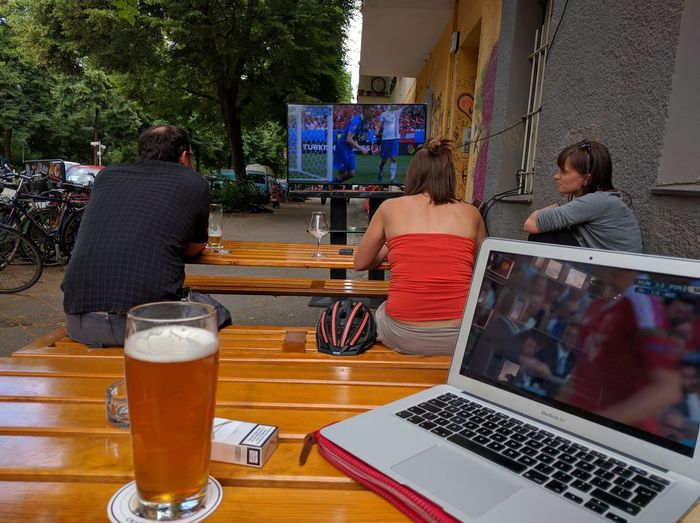 Hungary and Portugal are going mental but we don't watch it because Austrians. Multitasking Craft Beer Football Euro 2016 via Fotofall
