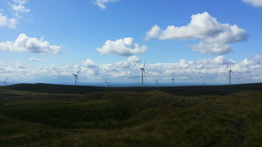 Lee Quarry Blue Sky Mountain Biking Enjoying Life The Great Outdoors Windmill Renewable Energy Sunshine Quarry Clouds And Sky