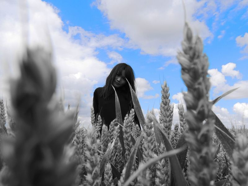 Dreams Are Made Of This Asian Girl Beautiful Beautiful Girl Cereal Cloud Cloud - Sky Cloudy Girl Landscape Looking At Camera Low Angle View Non-urban Scene Out In The Fields Outdoors Selective Color Selective Focus Showing Imperfection Sky Tranquil Scene Tranquility Weather Wheat Wheat Field