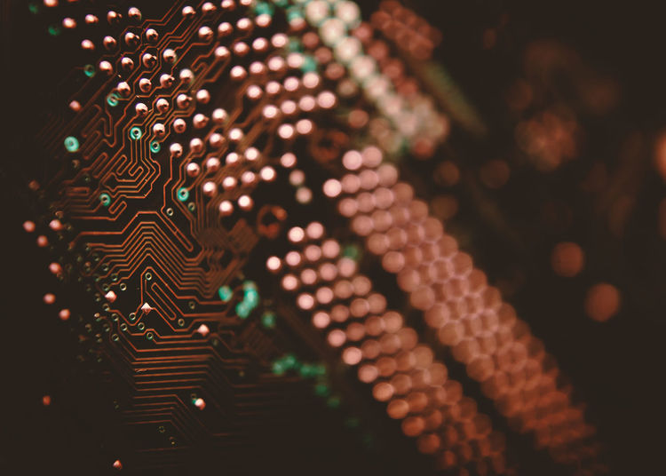 Close-up of illuminated circuit board