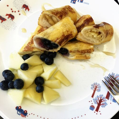 Franch Toast🍞 Blueberry Apple Banana Branch Homemade Food 老婆做的法式吐司卷 好好吃~~~