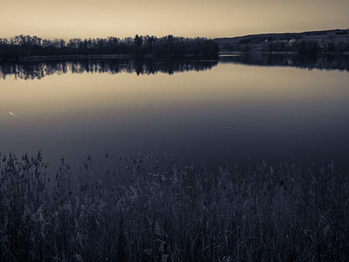 Beauty In Nature Blackandwhite Lake View Monochrome Outdoors Reflection Sea Silouhette Standing Water Sun Sunrise... Olympus OM-D E-M5 Mk.II