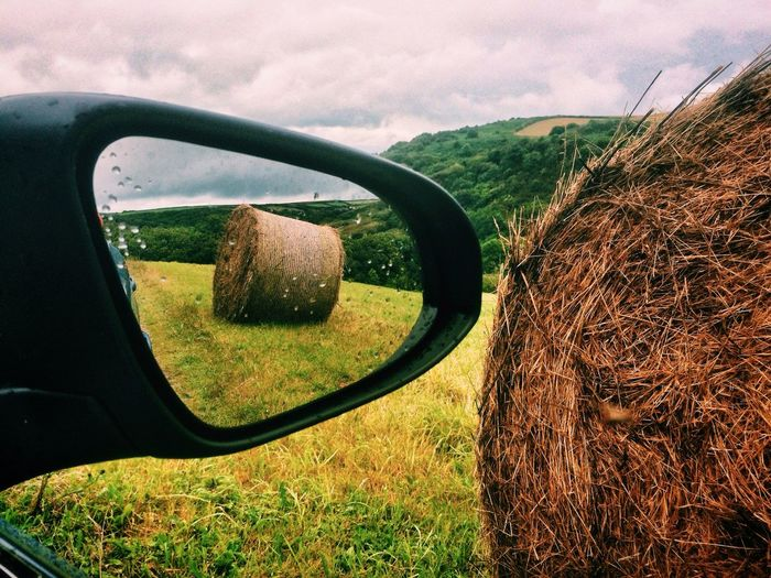 who never looks back should repair his rearview mirror. Farm Grass Hay Landscape Mirror Rain Raindrops Rearview Mirror
