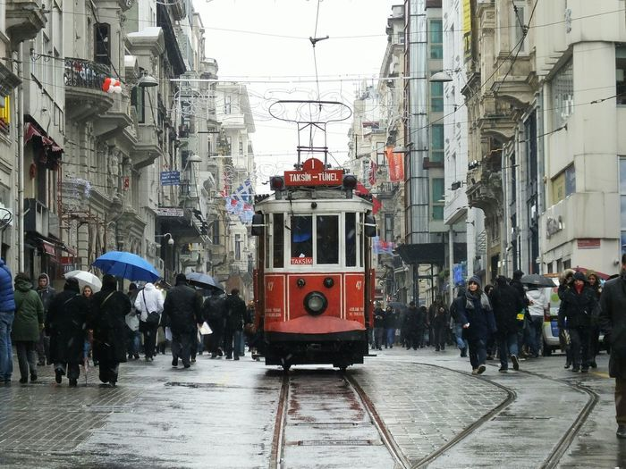 Cable Car In Old Town On Rainy Day