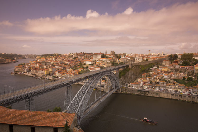 Aerial View Architecture Bridge Bridge - Man Made Structure Built Structure Capital Cities  City City Life Cityscape Cloud Cloud - Sky Cloudy Connection Day Elevated View Engineering Mode Of Transport No People Outdoors Residential District River Sky Tourism Travel Destinations Water