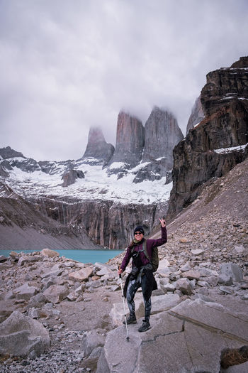 Chile Formation Hiking Nature Rock Rock Formation Winter Woman Beauty In Nature Day Female Lake Mountain One Person Outdoors Patagonia Sky Snowcapped Mountain The Towers Torres Del Paine