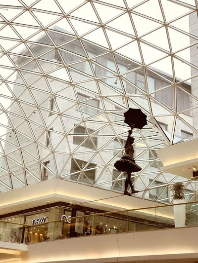 Mary Poppins sculpture inside a mall in Bratislava, Slovakia Marry Poppins Architecture Built Structure Ceiling Day Glass - Material Indoors  Low Angle View Sculpture Shopping Mall Skylight Travel Women