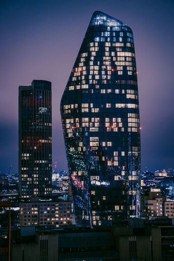 Lovely night 2 Building Exterior Architecture London High Angle View Nightphotography DSLR Canon Canonphotography Built Structure City Building Office Building Exterior Cityscape Skyscraper Modern No People Tall - High Office Urban Skyline Outdoors Illuminated Financial District  LONDON❤ Downtown District Europe Trip