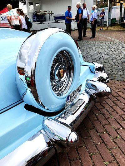 High angle view of vintage car on street in city