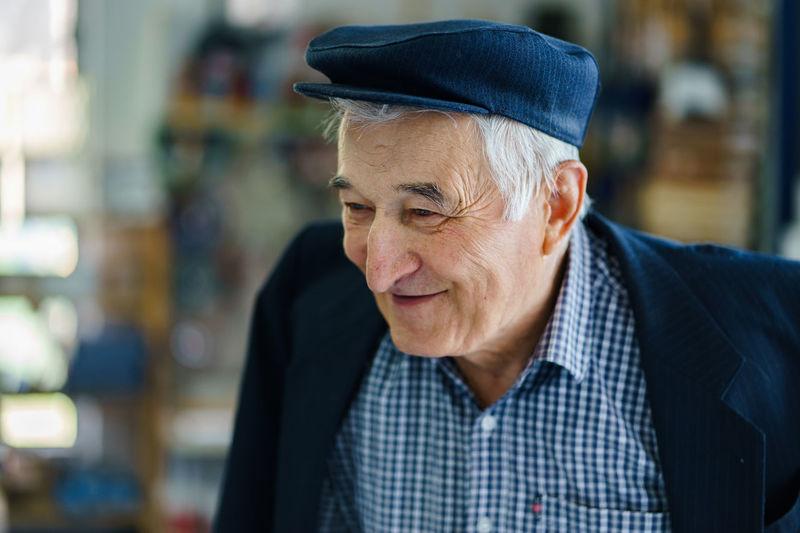 Close-up of smiling senior man