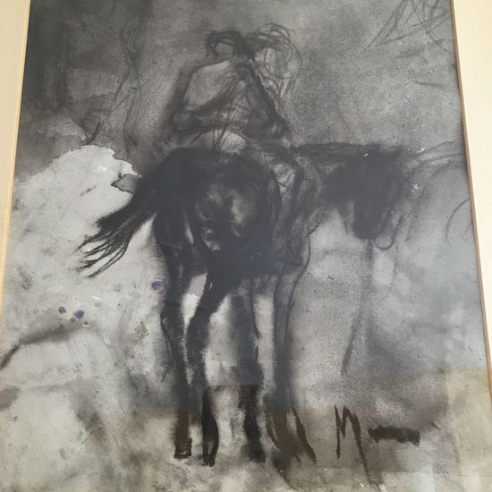 Man On Horseback Charcoal Charcoal Drawing Originals Portrait Animal Lovers Not A Copy Home Is Where The Art Is Gift Monochrome Photography