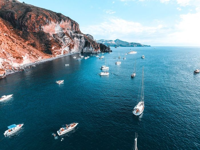 Magic sunset in Lipari this summer. Drone  Lipari Summer Sunset MagicWater Beauty In Nature Boat Yacht Market Bestsellers 2017