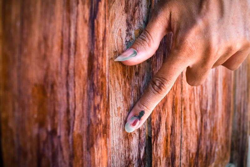 Cropped hand of woman hand on wooden wall