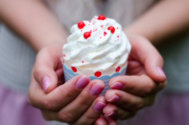 Close-up of hand holding ice cream