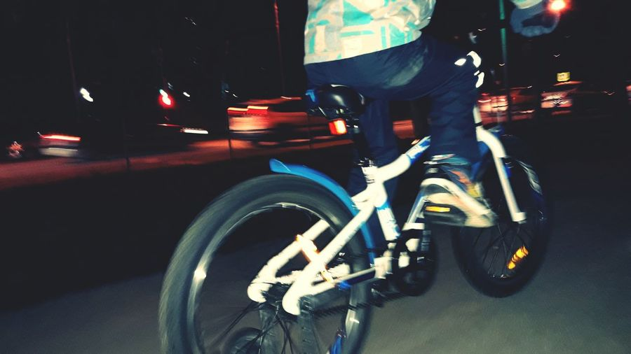 Boy, bike, street, blurred, motion, night Bicycle Transportation Cycling Mode Of Transport One Person Outdoors Road Night People Street