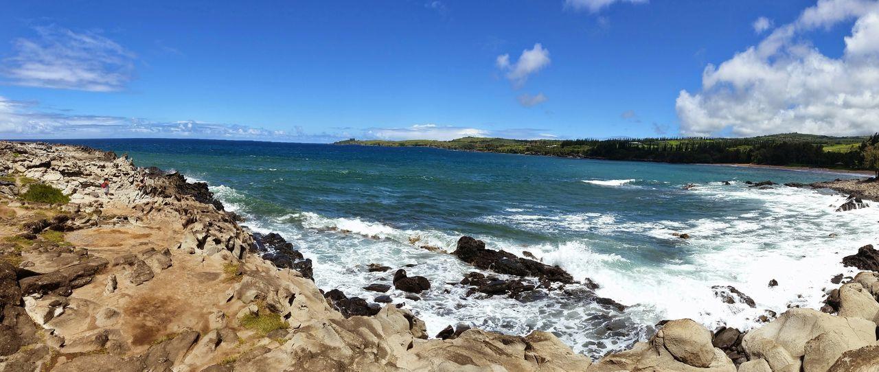 Hawaii Hi Beach Rocks Cliffs Waterscape Sky Panorama