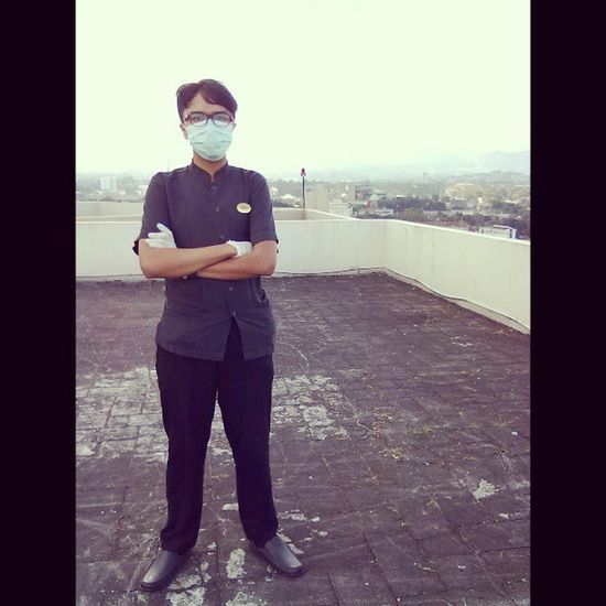 On duty from the rooftop of Hyattregency Bandung