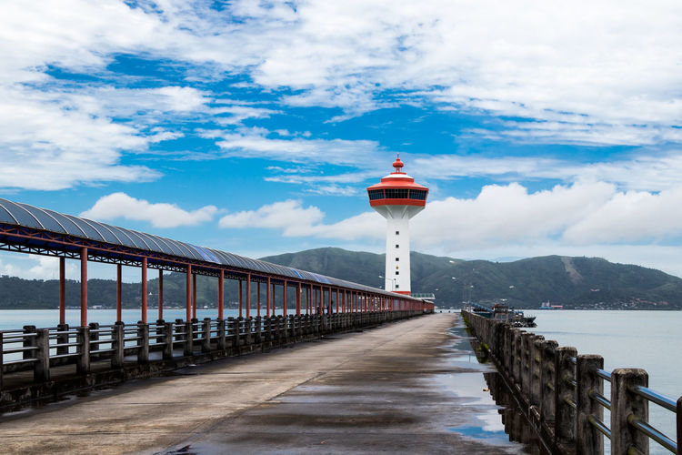 Custom Pier , Ranong, Thailand - The mountain behind is Kawthaung of Myanmar. Custom Pier Landmarks Transportation Andaman Architecture Building Built Structure Cloud - Sky Day Guidance Kawthaung Landscape Lighthouse Mountain Myanmar Outdoors Pier Protection Safety Scenics Sea Sky The Way Forward Top Perspective Water EyeEmNewHere Rethink Things