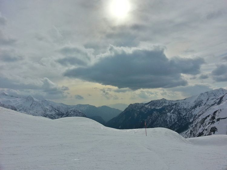 How's The Weather Today? Skiing Look Up Sun Skyporn Clouds And Sky Mountains Snow Landscape Winter