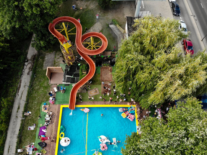 High angle view of plants by swimming pool