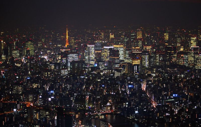 Cityscape City Night Building Exterior Illuminated Architecture Skyscraper Crowded Outdoors Travel Destinations Urban Skyline Sky Tokyo Tower Tokyo,Japan