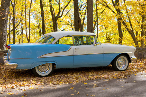 Beautiful mint baby blue vintage car out for a Sunday drive in autumn 1950's 50's Style 55 Automobile Autumn Classic Car Colors Ivory Sunday Drive Baby Blue Blue Car Chrome Colorful Delta 88 Design Detail Drive In The Country Fall Mint Mint Condition Oldsmobile Trim Vintage Whitewalls