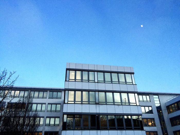 Evening Blue Blue Sky Moon Windows Iridescent  Shimmer Reflection Evening Light Architecture Glass Building