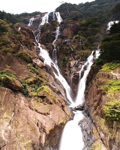 Dudhsagar waterfalls Waterfall Water Scenics Rapid Nature Stream - Flowing Water Flowing Beauty In Nature No People Motion Travel Destinations Outdoors Dudhsagar Waterfall Dudhsagar Falls Goa India Post Monsoon