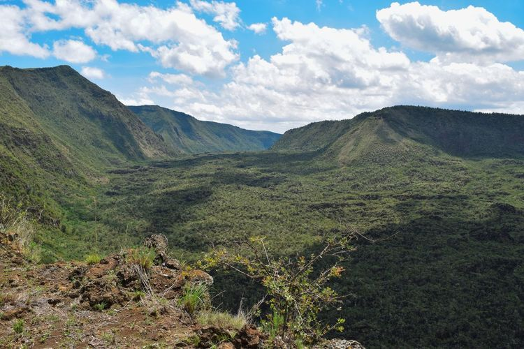 Scenic view of volcanic crater on mount suswa, kenya