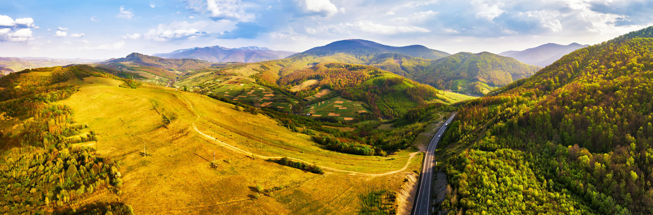 Mountain Landscape Scenics - Nature Environment Beauty In Nature Cloud - Sky Mountain Range Tranquil Scene Sky Tranquility Non-urban Scene Nature Land Panoramic Tree Road Day Autumn No People Plant Outdoors Rolling Landscape Carpathian Mountains Road Rural Scene