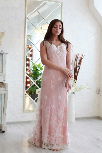 Pink Color Pink Dress Water Wedding Dress Bride White Background Standing One Person Women Dress Clothing Young Adult Beautiful Woman Fashion Beauty Adult Young Women Lifestyles Full Length Indoors  Front View Looking Hairstyle Floral Pattern Teenager