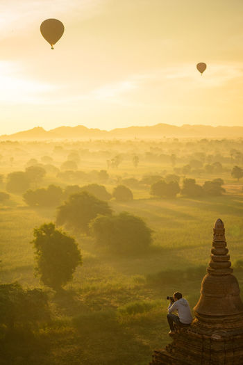 Bagan Ancient City Air Vehicle Architecture Bagan Bagan In #myanmar Bagan, Myanmar Balloon Beauty In Nature Belief Built Structure History Hot Air Balloon Nature Outdoors Place Of Worship Plant Religion Scenics - Nature Sky Spirituality The Past Tranquility Travel Destinations Tree