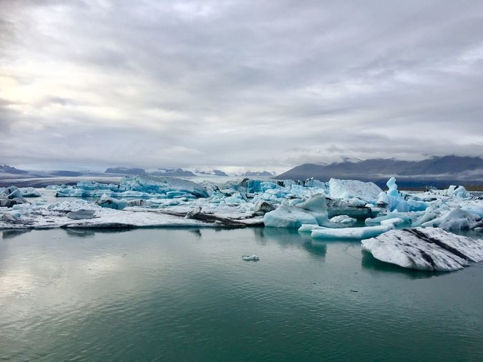 Ice lake EyeEm Selects Cloud - Sky Water Sky Scenics - Nature Ice Cold Temperature Sea Glacier Nature Frozen No People Environment Iceberg - Ice Formation Winter Beauty In Nature Floating On Water Outdoors