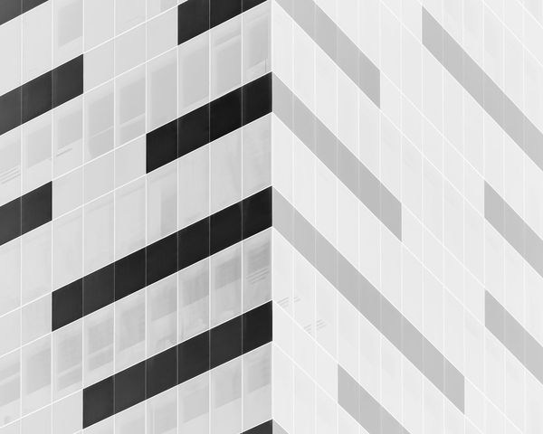 Exterior design of building corner, in black and white Backgrounds Pattern Architecture Geometric Shape Design Shape Building Exterior Glass - Material Repetition Wall - Building Feature Window Abstract Abstract Photography Lines Corner Black And White