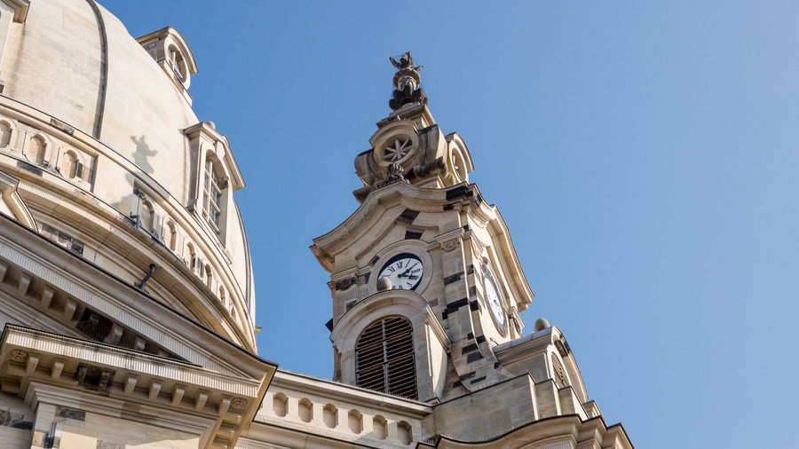Low angle view of dresden frauenkirche against clear sky