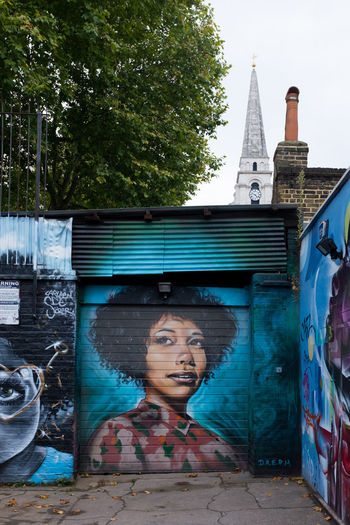 London Shoreditch Architecture Building Exterior Built Structure City Day Dreph Leisure Activity Lifestyles One Person Outdoors People Real People Street Art Street Photography Streetart Streetphotography Tree Young Adult Young Women