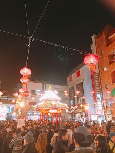 南京町 中華街 神戸 Night Large Group Of People Illuminated Building Exterior Architecture Built Structure Lighting Equipment