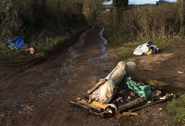 English countryside Spoiled Spoilt Rubbish Dump Rubbish Waste Management Wasteland Waste Austerity Lanes Country Road Country Life Countryside Fly Tipping Social Issues Day Outdoors