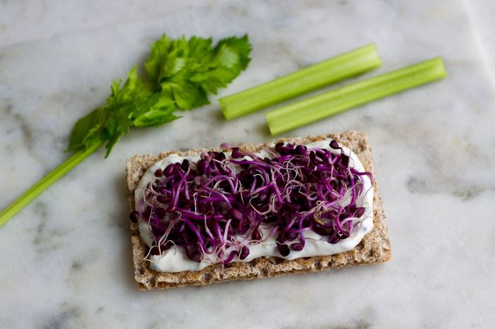 Diet day. Diet Foodie Radish Sprouts Celery Close-up Crispbread  Dieting Food Freshness Healthy Eating Healthy Lifestyle Purple Ready-to-eat