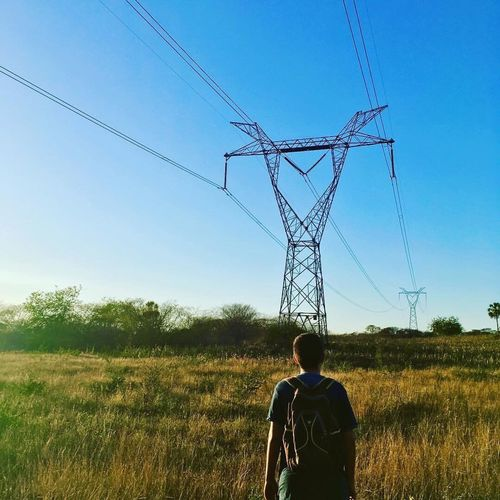 The Great Outdoors - 2017 EyeEm Awards Electricity Pylon Real People Connection Day Nature Clear Sky Sky First Eyeem Photo