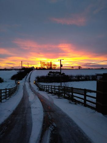 snow and sunrise Snow Sunlight Sunrise Drive Way