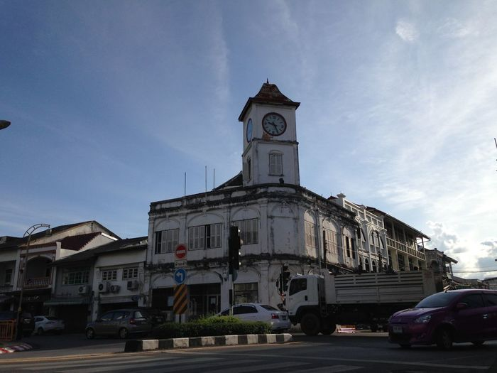 Architecture Astronomical Clock Building Exterior Built Structure City Clock Tower Day No People Outdoors Phuket Old Town Phuket,Thailand Place Of Worship Religion Sky