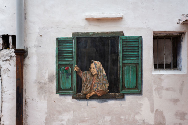 Malacca Window Architecture Built Structure Building Exterior Building Day No People Wall - Building Feature Door Outdoors Entrance Old Glass - Material Representation House Closed Art And Craft Human Representation Creativity Transparent