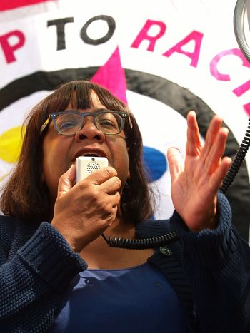 March For Windrush-Scrap Mays Racist Act Protest. Whitehall. London. 05/05/2018 Hostile Environment Zuiko Institutional Racism Protest Olympus Windrush Scandal Windrush Protest London News Steve Merrick Stevesevilempire Immigration Protest Placards Politician Diane Abbot Politics And Government Adult Emotion People Women Young Adult Glasses Fun